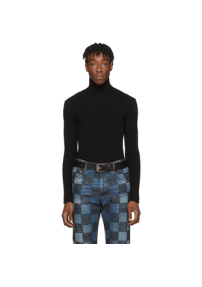 Balenciaga Black Cashmere Ribbed Turtleneck