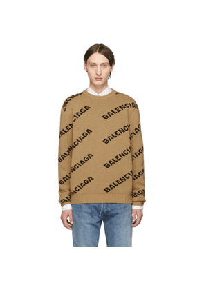 Balenciaga Beige and Black Jacquard Logo Sweater