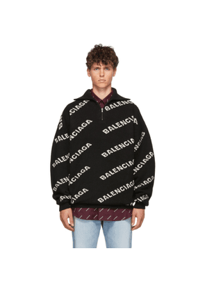 Balenciaga Black and White All Over Logo Zip Turtleneck
