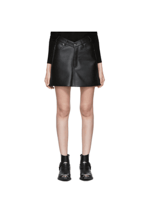 Balenciaga Black Faux-Leather V-Neck Miniskirt