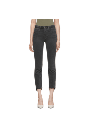 Frame Grey Le High Straight Raw Stagger Jeans