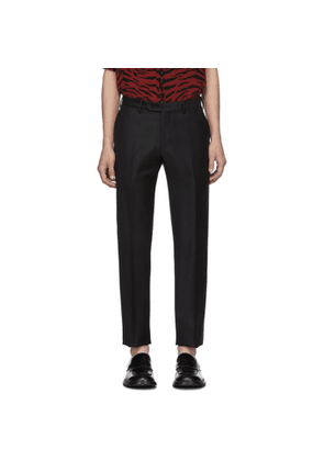 Eidos Black Mohair and Wool Dress Trousers