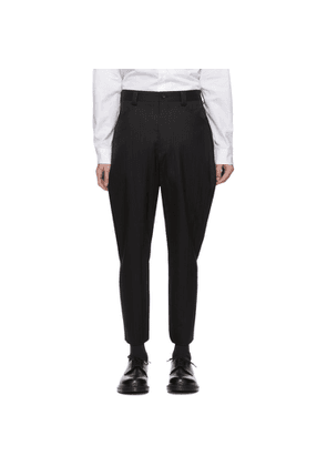 Comme des Garcons Homme Plus Black Wool Stripe Dobby Shadow Trousers
