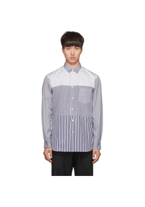 Comme des Garcons Shirt Navy and White Striped Poplin Yarn-Dyed Shirt