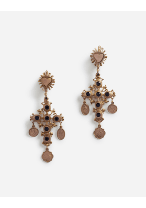 Dolce & Gabbana Bijoux - PENDANT EARRINGS WITH DECORATIVE ELEMENTS GOLD
