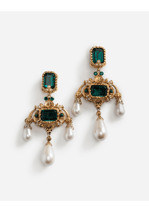 Dolce & Gabbana Bijoux - DROP EARRINGS WITH DECORATIVE RHINESTONE AND PEARL DETAILS GOLD
