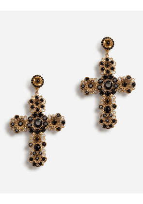 Dolce & Gabbana Bijoux - CLIP-ON PENDANT EARRINGS WITH CROSS GOLD
