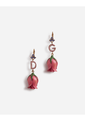 Dolce & Gabbana Bijoux - PENDANT EARRINGS WITH DECORATIVE ELEMENTS IN RESIN AND DG LOGO GOLD