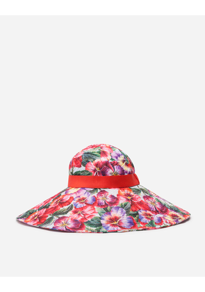 Dolce & Gabbana Hats and Gloves - POPLIN HAT WITH VIOLET PRINT FLORAL PRINT