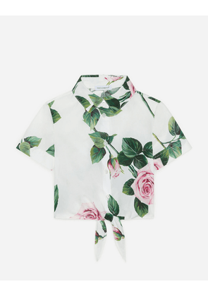 Dolce & Gabbana testFM - CROPPED POPLIN SHIRT WITH TROPICAL ROSE PRINT FLORAL PRINT
