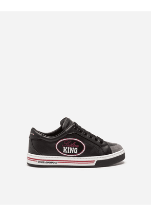 Dolce & Gabbana Shoes (24-38) - PRINTED LEATHER SNEAKERS WITH PATCH BLACK
