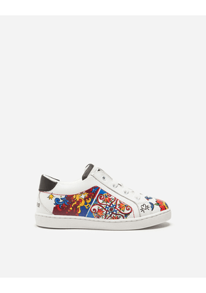 Dolce & Gabbana Shoes (24-38) - PRINTED LEATHER SNEAKERS MAJOLICA PRINT