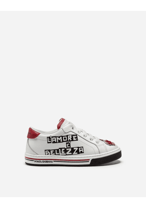 Dolce & Gabbana Shoes (24-38) - LEATHER SNEAKERS WITH PRINT WHITE