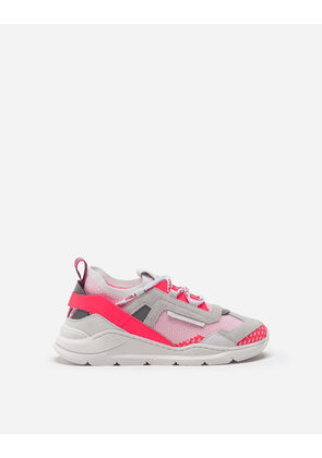 Dolce & Gabbana Shoes (24-38) - DAYMASTER SNEAKERS IN MIXED MATERIALS FUCHSIA/WHITE