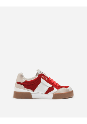 Dolce & Gabbana Shoes (24-38) - SUEDE MIAMI SNEAKERS WITH RUBBERIZED LOGO LABEL RED