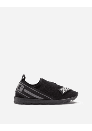 Dolce & Gabbana Shoes (24-38) - TERRY CLOTH SORRENTO SLIP-ON SNEAKERS WITH PATCH BLACK