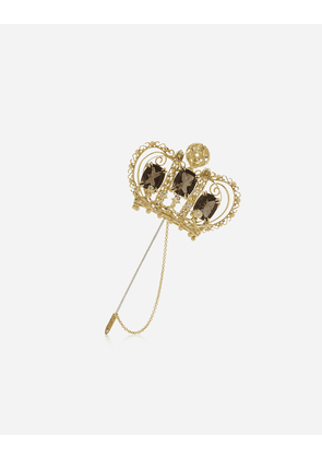 Dolce & Gabbana Jewelry - CROWN BROOCH WITH QUARTZES AND DIAMONDS GOLD