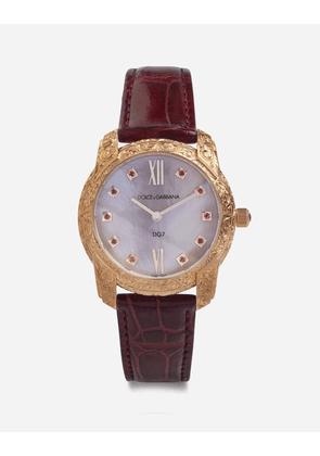 Dolce & Gabbana Watches - DG7 GATTOPARDO WATCH IN RED GOLD WITH PINK MOTHER OF PEARL AND RUBIES BURGUNDY