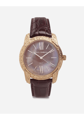 Dolce & Gabbana Watches - DG7 GATTOPARDO WATCH IN RED GOLD WITH PINK MOTHER OF PEARL BURGUNDY