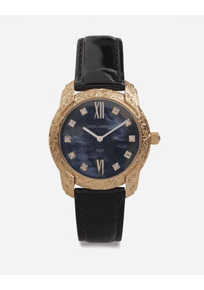 Dolce & Gabbana Watches - DG7 GATTOPARDO WATCH IN RED GOLD WITH BLACK MOTHER OF PEARL AND DIAMONDS BLACK
