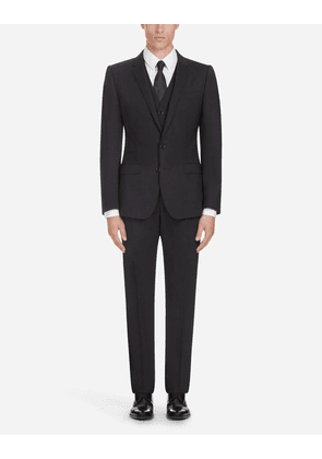 Dolce & Gabbana Suits - STRETCH WOOL SUIT BLACK male 46