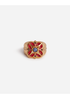 Dolce & Gabbana Bijoux - METAL RING WITH RED ENAMELLED FLOWER GOLD