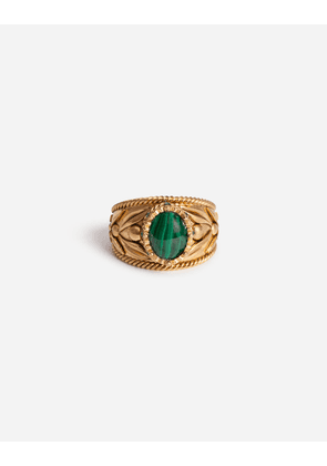Dolce & Gabbana Bijoux - METAL RING WITH NATURAL STONE GOLD