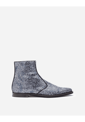 Dolce & Gabbana Boots - TWO-TONE GLITTER ANKLE BOOTS GREY