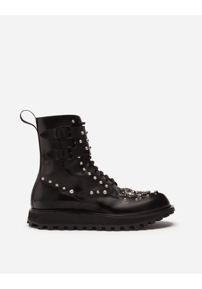 Dolce & Gabbana Boots - CALFSKIN BOOTS WITH EMBROIDERY AND EXTRA LIGHTWEIGHT BOTTOM BLACK/WHITE