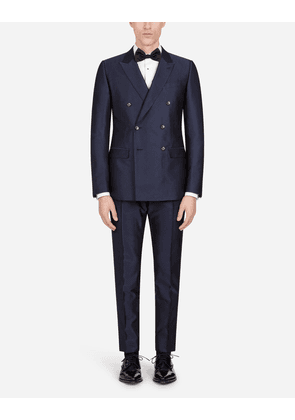 Dolce & Gabbana Suits - DOUBLE-BREASTED MARTINI SUIT WITH SMALL JACQUARD STARS MULTICOLORED