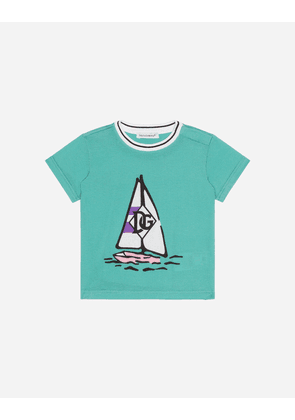 Dolce & Gabbana Collection - JERSEY T-SHIRT WITH BOAT PRINT GREEN