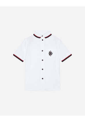 Dolce & Gabbana Collection - STRETCH POPLIN SHIRT WITH DG PATCH WHITE