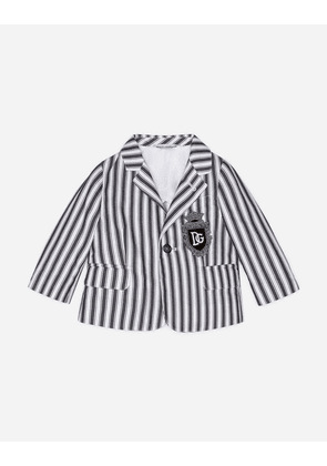 Dolce & Gabbana Collection - SINGLE-BREASTED POPLIN SUIT WITH STRIPED PRINT GREY