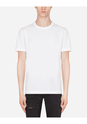 Dolce & Gabbana Collection - COTTON T-SHIRT WITH LOGOED PLAQUE WHITE