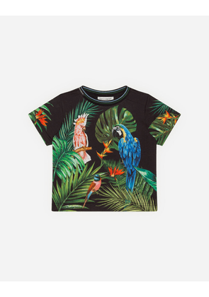 Dolce & Gabbana Collection - JERSEY T-SHIRT WITH PARROT PRINT MULTICOLORED