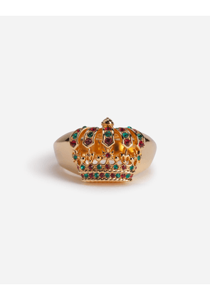 Dolce & Gabbana Collection - METAL RING WITH CROWN AND RHINESTONES MULTICOLORED