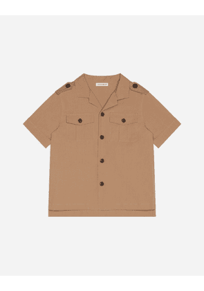 Dolce & Gabbana Collection - SAFARI SHIRT IN POPLIN WITH PARROT PATCH BEIGE