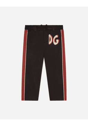 Dolce & Gabbana Collection - DRILL PANTS WITH CHOOSE DG PATCH BLACK