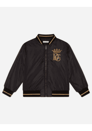 Dolce & Gabbana Collection - NYLON BOMBER JACKET WITH EMBROIDERED DG LOGO BLACK