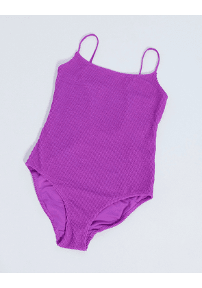 Weekday recycled polyester square neck scoop-back swimsuit in bright purple