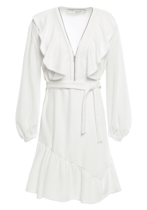 Iro Hopeful Zip-detailed Ruffled Stretch-crepe Mini Dress Woman Ivory Size 36