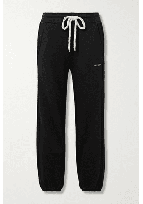 TWENTY Montréal - Sunnyside Embroidered Terry-trimmed Cotton-blend Jersey Trackpants - Black