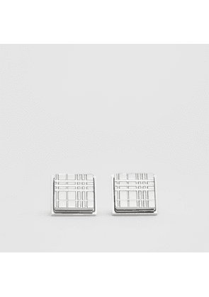 Burberry Palladium-plated Check-engraved Square Cufflinks, Grey