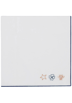 Gucci embroidered motif pocket scarf - White