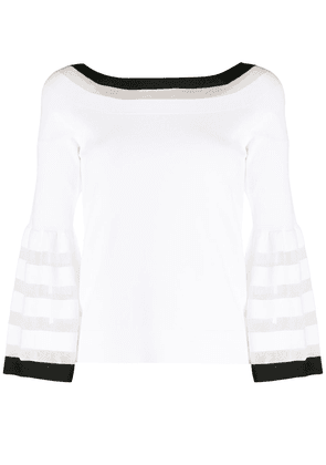 D.Exterior striped trim jumper - White
