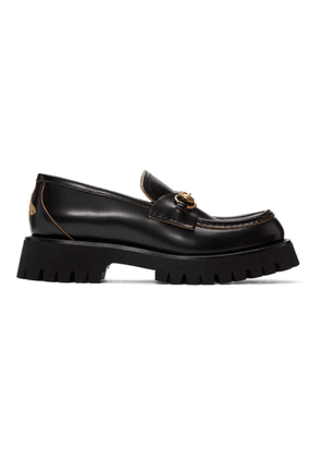 Gucci Black Leather Horsebit Loafers