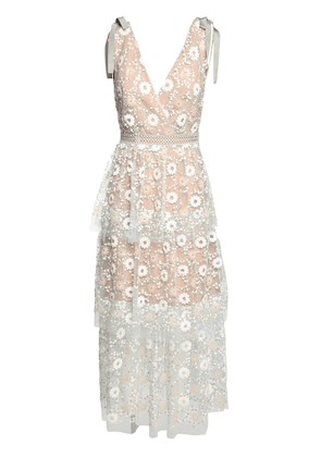 Floral Sequin Lace Midi Dress