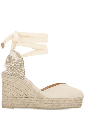 80mm Chiara Cotton Espadrille Wedges