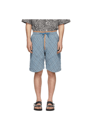Isabel Marant Blue Quilted Denim Shorts
