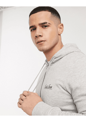 Jack & Jones co-ord logo zip through hoodie-Grey